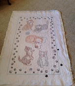 Embroidered Kitten Panel Quilt